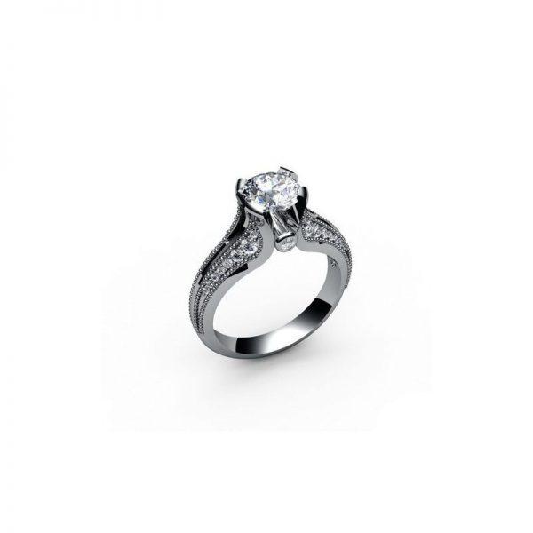 Exkluzívny zásnubný prsteň s diamantom 1.00 ct, malé diamanty,