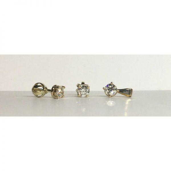 Náušnice s diamantmi, prívesok s diamantom