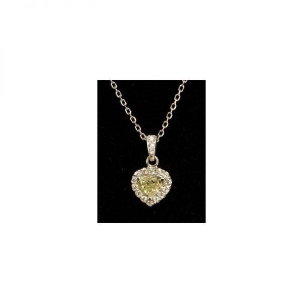 Prívesok srdce s žltým diamantom