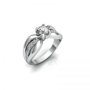 Exkluzívny zásnubný prsteň s diamantom 0.50 ct, malé diamanty,
