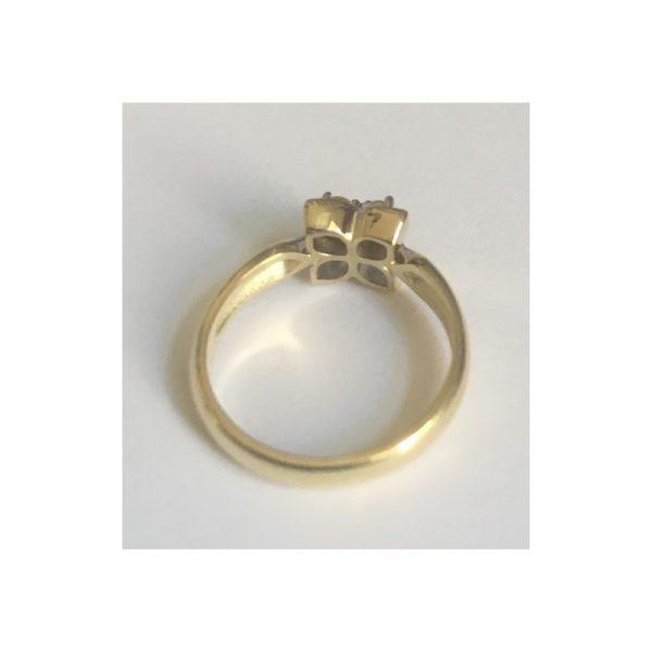 Prsteň štvorlístok, prsteň s diamantmi 5 ks