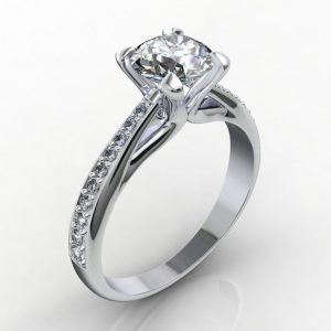 Zasnubny prsten s diamanom 0.60 ct - 6 a malými diamantmi